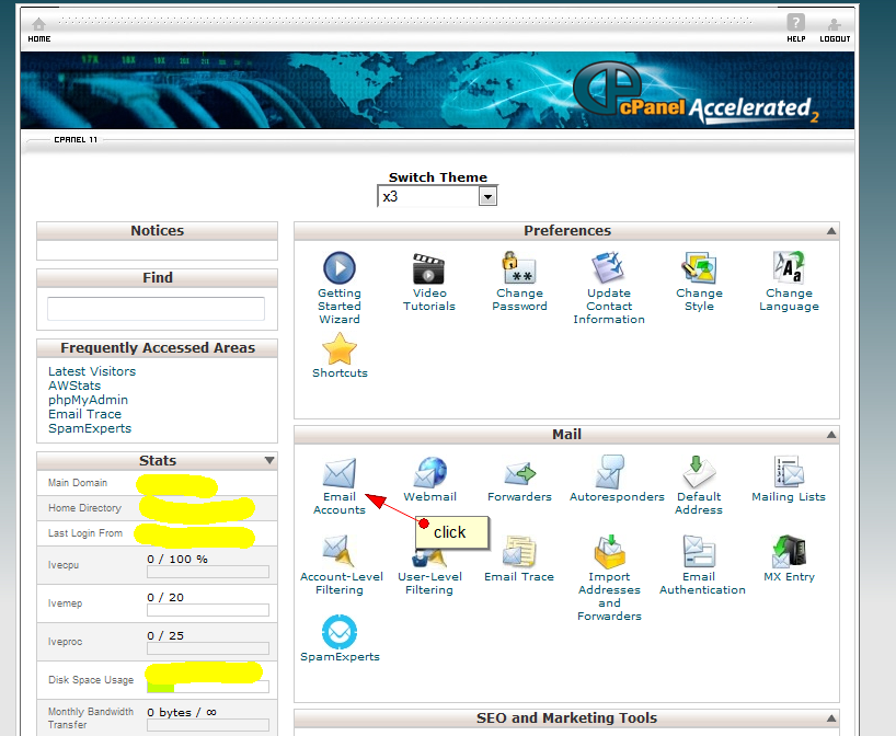 Administrare cont email in Cpanel